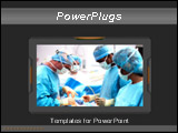 PowerPoint Template - Dark grey template with doctors in uniform having operation in hospital in 3d style frame