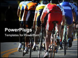 PowerPoint Template - bikers pedal in a pack in a road race