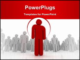 PowerPoint Template - One 3D person stands out of the crowd - dramatic angle