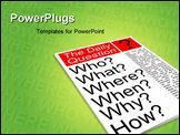 PowerPoint Template - Who what where when why how. Journalism news concept