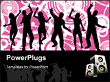 PowerPoint Template - Silhouettes of people dancing on grunge background.