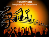 PowerPoint Template - Musical notes over a dancing crowd.