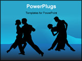 PowerPoint Template - Illustration of tango couples on blue background
