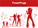 PowerPoint Template - silhouette of females dancing on red background