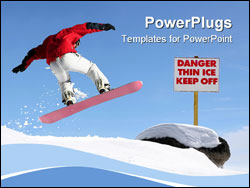 PowerPoint Template - snowboarder jumping high in the air
