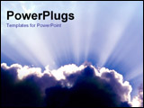 PowerPoint Template - Dark clouds emitting rays of sunlight.
