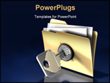 PowerPoint Template - 3d illustration of a chrome key \unlocking\ a simple file folder