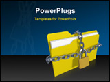 PowerPoint Template - 3d rendered folder with padlock and chain over white background
