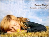 PowerPoint Template - Girl laying in field daydreaming.