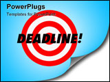 PowerPoint Template - The word Deadline and a red target on a hanging wall calendar