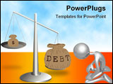 PowerPoint Template - Debt and earnings are on a scale