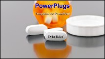 PowerPoint Template - White medical tablet pill with Debt relief written down on it