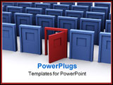 PowerPoint Template - a group of blue doors with a red one being open