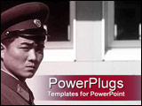 PowerPoint Template - Alert Asian military officer