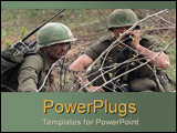 PowerPoint Template - Army duo communicate behind barbed wire