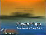 PowerPoint Template - War on Terrorism theme with wash of war ship
