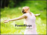 PowerPoint Template - Photo of relaxing woman with closed eyes and stretched arms expressing delight outdoors