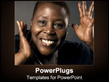 PowerPoint Template - African-American woman smiles delightedly for the camera.