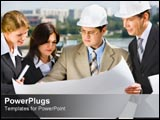 PowerPoint Template - Industrial workers looking at plan.