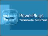 PowerPoint Template - Model of new dentures on blue