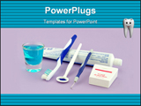 PowerPoint Template - A small assortment of dental health equipment that a person can use at home.