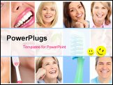 PowerPoint Template - teeth whitening tooth brushing dental care. Smile