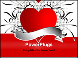 PowerPoint Template - Heart with decorative swirls and banner