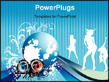 PowerPoint Template - vector party sound and beauty woman illustration