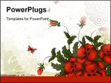 PowerPoint Template - Grunge paint flower background with butterfly element for design