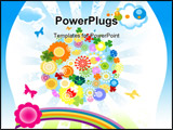 PowerPoint Template - illustration for kids with planet earth and colorful flowers