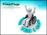 PowerPoint Template - A determined person in a wheelchair with arms raised surrounded by the words Yes I Can