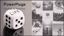 PowerPoint Template - Dice with Life on top for the conceptual purpose of rolling the dice of your life