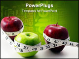 PowerPoint Template - 3 multicolored Apples surrounded with measuring tape