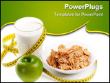 PowerPoint Template - Apple milk corn flakes and measuring tape. Concept of healthy food