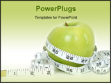 PowerPoint Template - A green apple with a measuring tape wrapped around it for the concept of dieting.