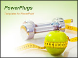 PowerPoint Template - Photo of green apple tied with measuring tape on the background of metallic dumbbells