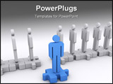 PowerPoint Template - A blue character stepped out of the line. Concept of standing out leadership teamwork