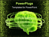 PowerPoint Template - 3d rendered illustration of a green brain with binary rings