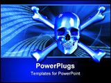 PowerPoint Template - 2D render of a skull and crossbones with a background of binary digits.