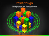 PowerPoint Template - d illustration of a glowing ring of binary green digits orbiting around a 16 segment multi-color tr