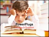 PowerPoint Template - Photo of young boy looking at camera while reading book