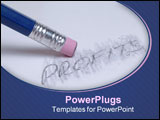 PowerPoint Template - a blue pencil erases the word profit on a piece of paper.