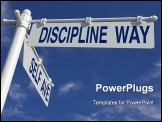 PowerPoint Template - street post with self ave and discipline way signs