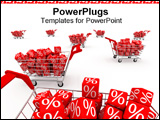 PowerPoint Template - Shopping carts with red cubes on white