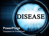 PowerPoint Template - disease on a blue background with a magnifier