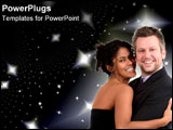 PowerPoint Template - An African American woman and a Caucasian man over the starry sky.