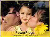 PowerPoint Template - Asian-American family kisses their hapa daughter
