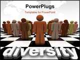PowerPoint Template - The word Diversity on a chessboard with a line-up of many people of different races.