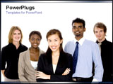 PowerPoint Template - Group of diverse workers standing together in a team.
