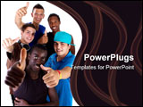 PowerPoint Template - oung fresh interracial group of teenagers showing thumbs up sign as a sign of success. Isolated ove